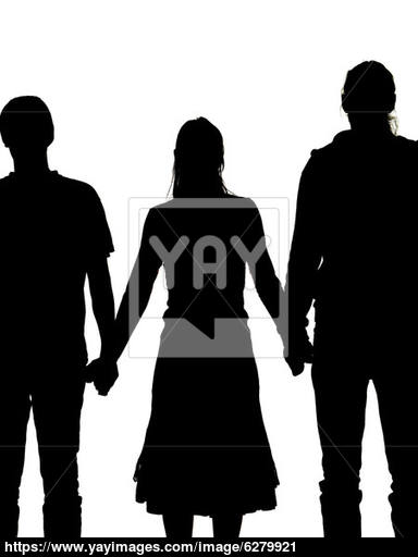 384x512 Silhouette Of A Woman And Two Men Holding Hands Image