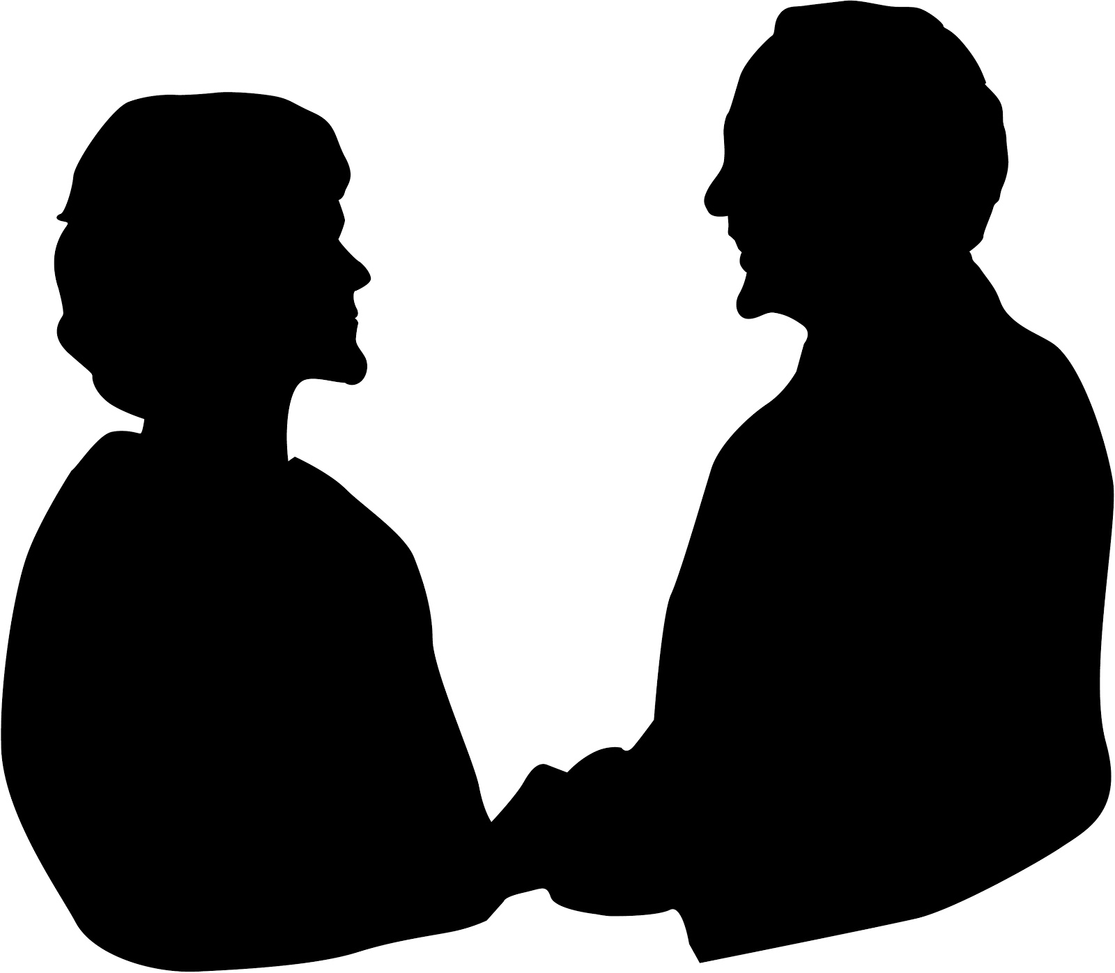 1600x1396 Elderly Couple Holding Hands Clipart Silhouette