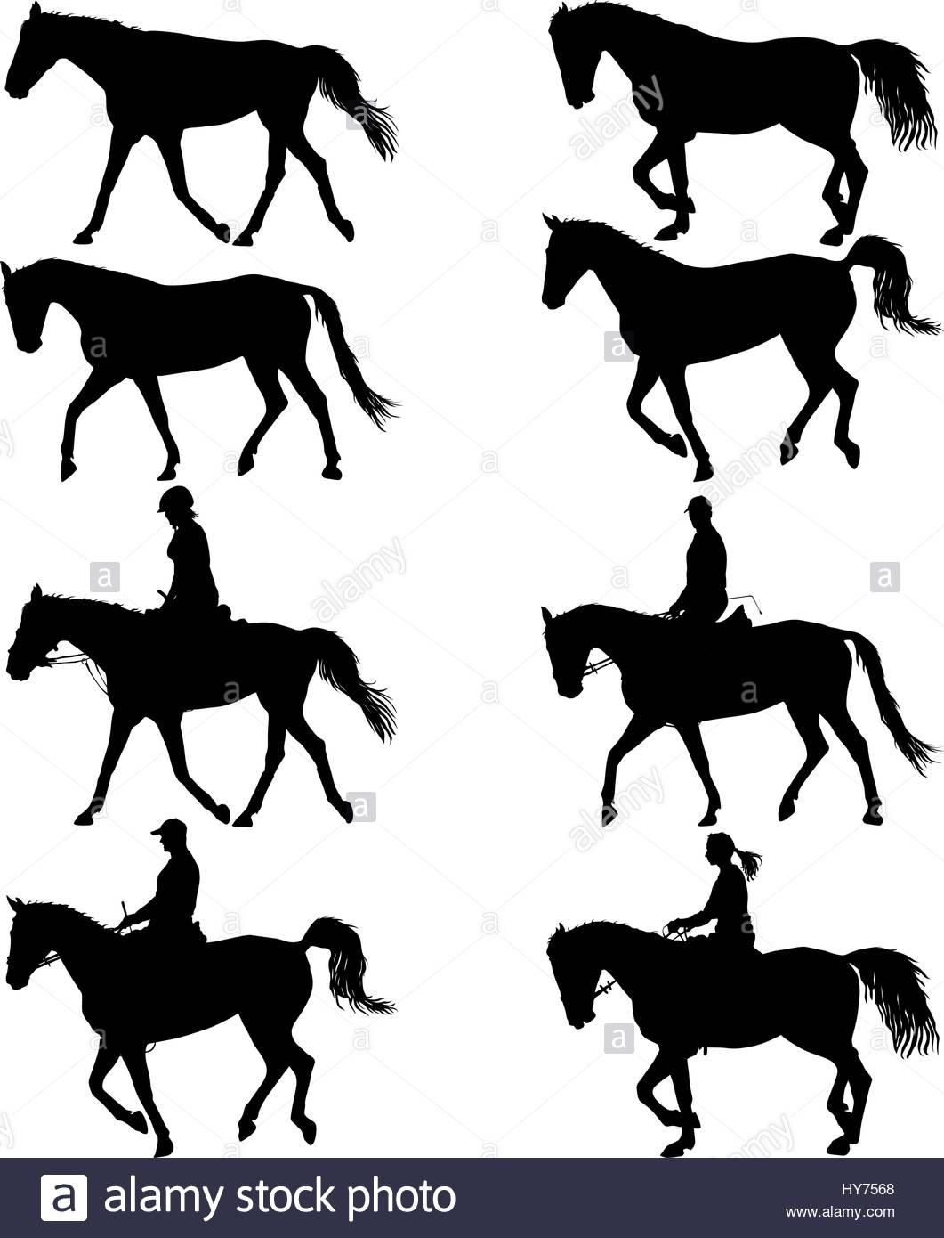 1061x1390 Set Vector Silhouette Of Horse And Jockey Stock Vector Art