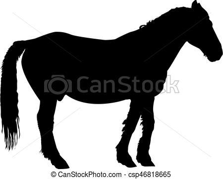 450x361 Silhouette Of Horse In Profile. Clip Art Vector