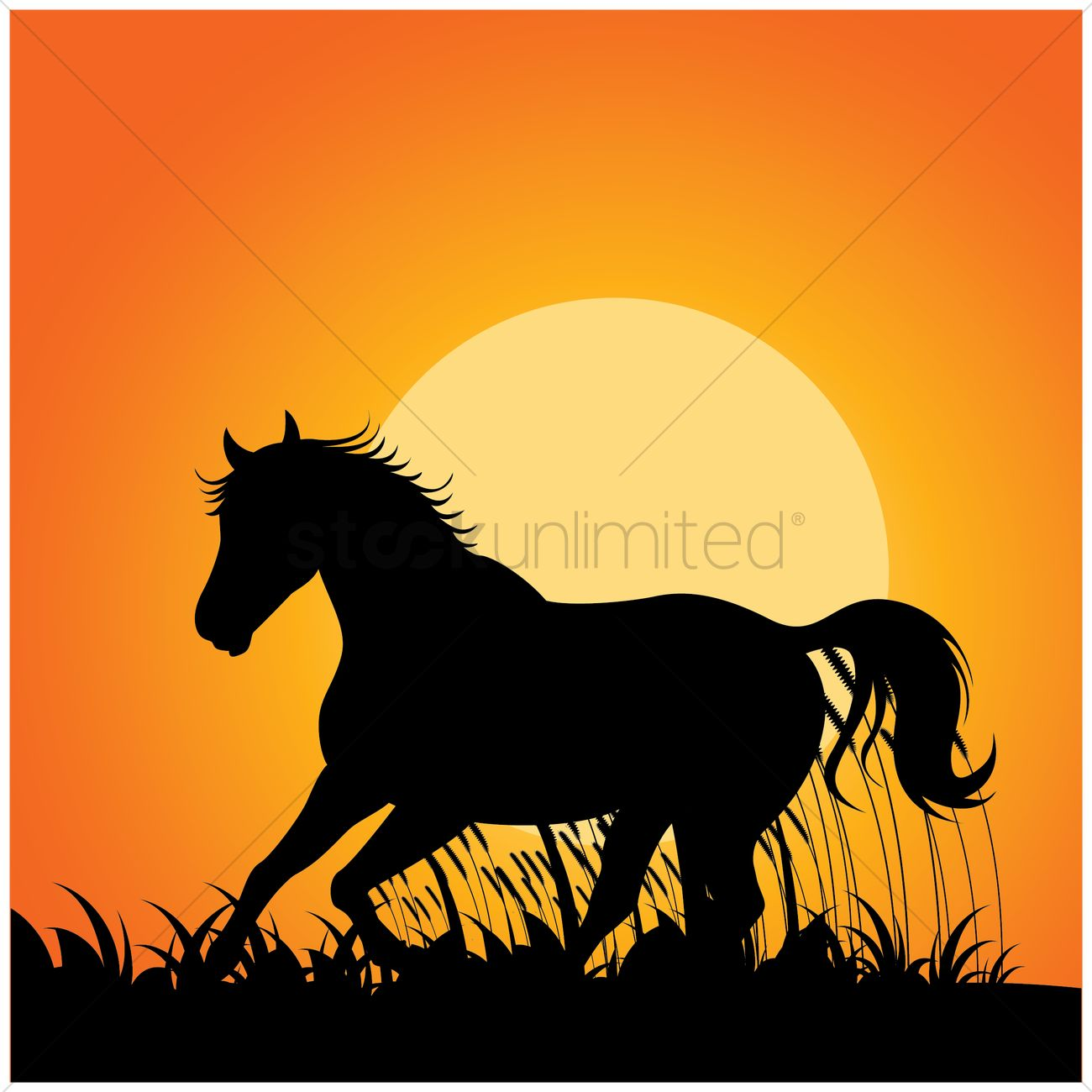 1300x1300 Silhouette Of Horse Running Vector Image