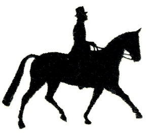 300x263 Trotting Horse And Rider Silhouette Custom Embroidery Designs By