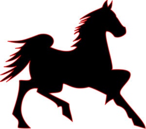 300x265 7480 Running Horse Outline Clip Art Public Domain Vectors