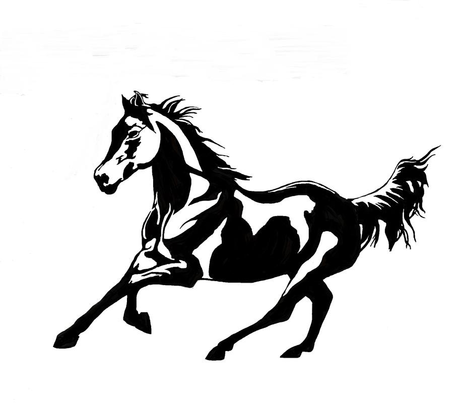 907x800 Quarter Horse Running Silhouette