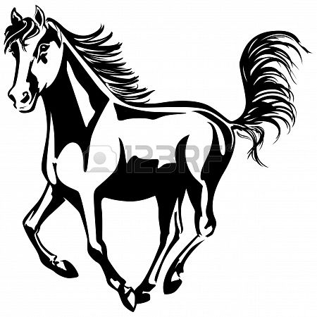 450x450 The Horse Is Running Black And White Drawing Silhouette Stock
