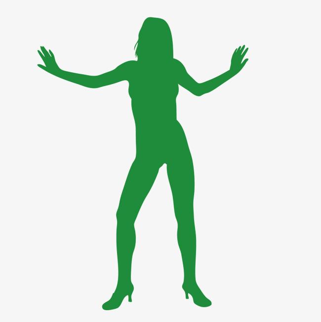 650x651 Vector Green Woman Silhouette Human Body Curve, Vector, Green