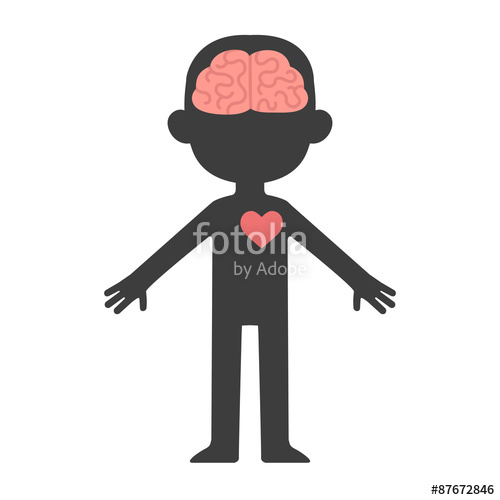 500x500 Cartoon Human Body Silhouette With Visible Brain And Heart. Stock