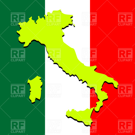 453x453 Silhouette Of Italy Map Over Flag Royalty Free Vector Clip Art