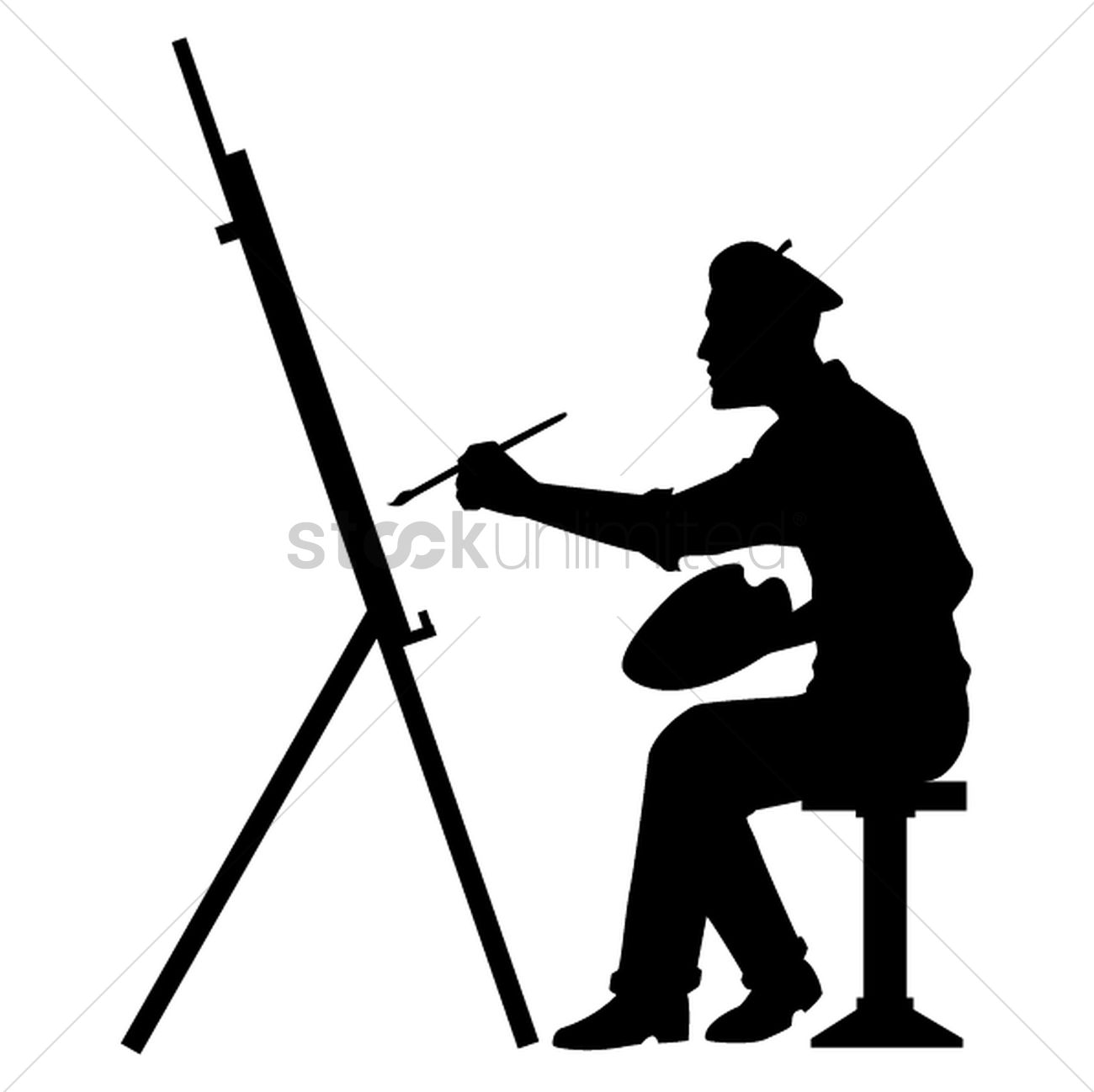 1300x1298 Silhouette Of Artist With Canvas Board Vector Image