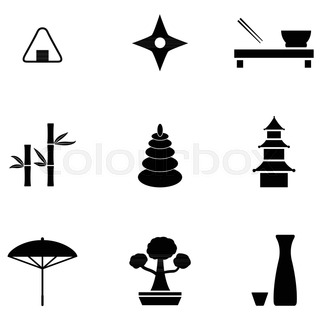 320x320 Japan Symbols Set In Heart Shape With Traditional Food And Travel