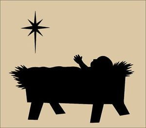 300x262 Baby Jesus In A Manger Silhouette Primitive Topper Stencil~ Baby
