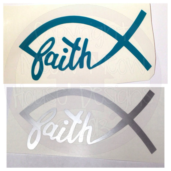 570x570 Faith Jesus Fish Car Window Decal