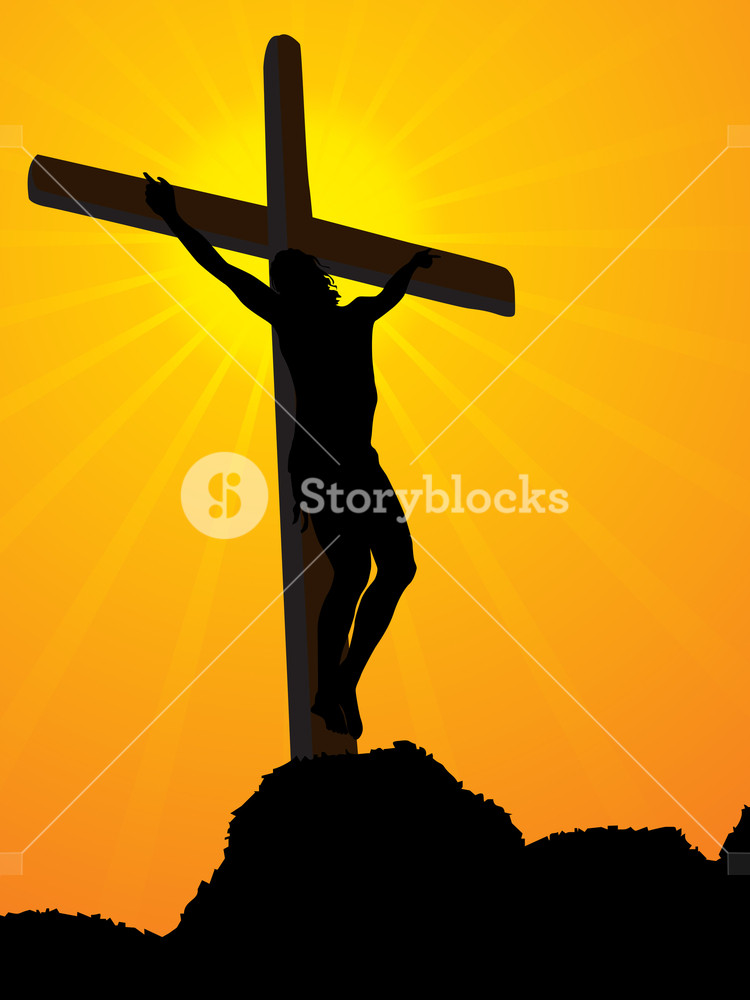 750x1000 Mountain Background With Jesus In Cross Royalty Free Stock Image