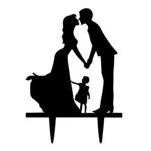 300x300 Wedding Bride Amp Groom Silhouette With Kid Acrylic Wedding Cake