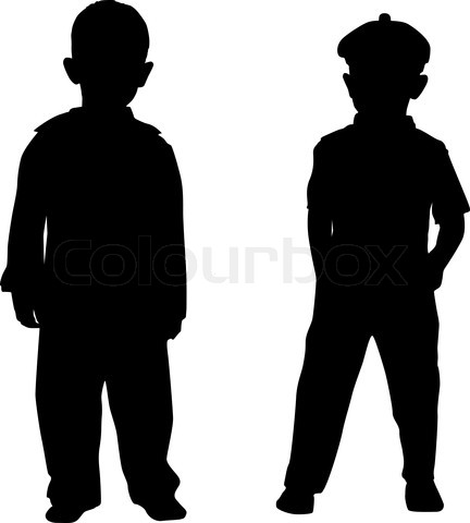 432x480 Silhouette Kids Stock Vector