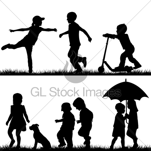 500x500 Children Silhouettes Playing Gl Stock Images