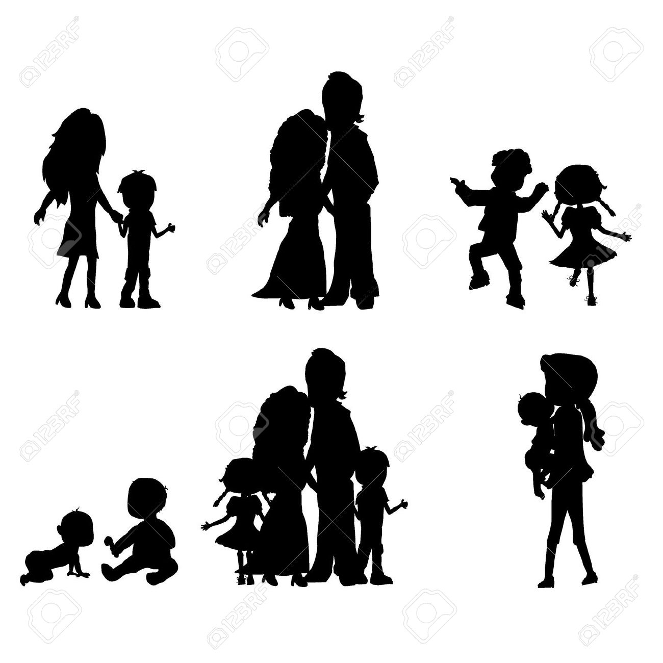 Silhouette Of Kids Holding Hands