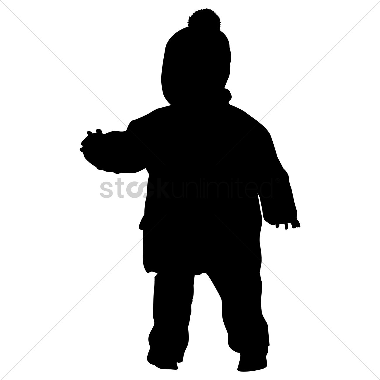 1300x1300 Silhouette Of A Kid Wearing Winter Clothes Vector Image