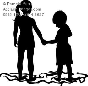 300x293 Silhouette Of Two Kids Holding Hands