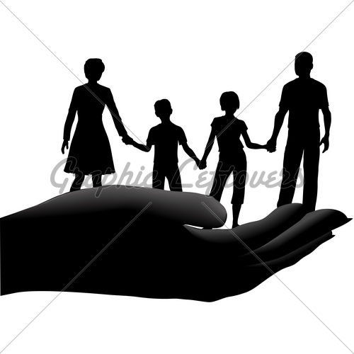 500x500 Mother Father Kids Family Safe Secure In Hand Gl Stock Images