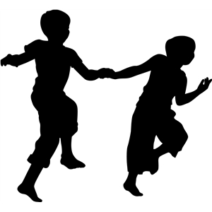 300x300 Kid Playing Silhouette. Kids Playing Silhouette