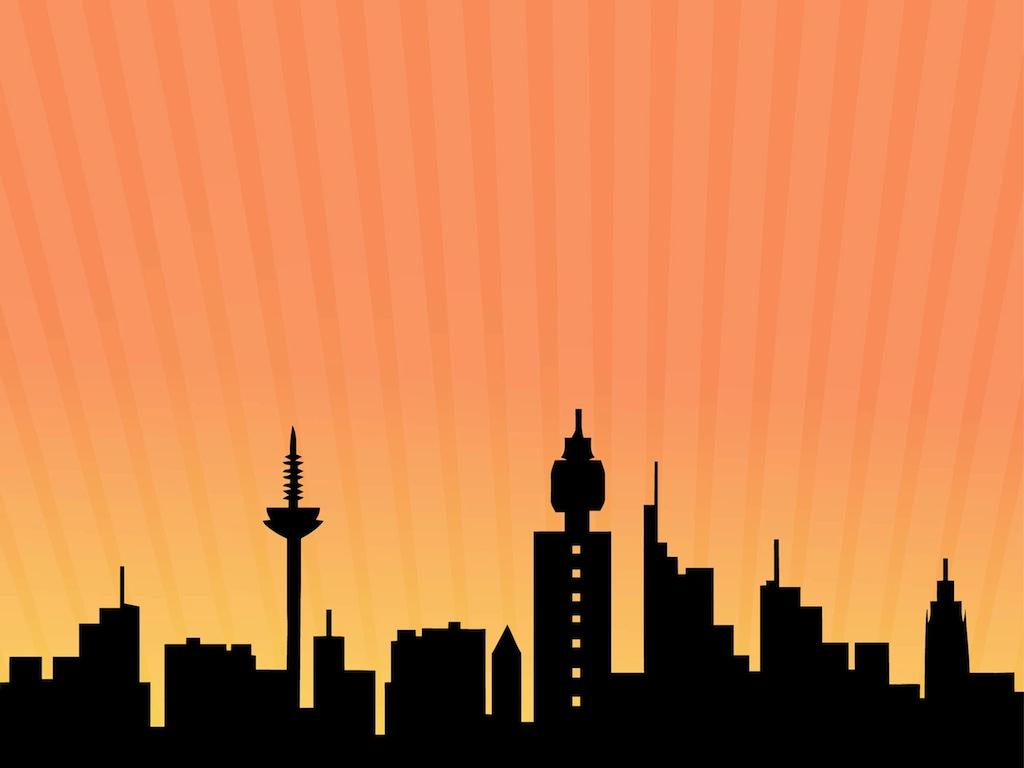 1024x768 Skyline Background Clipart