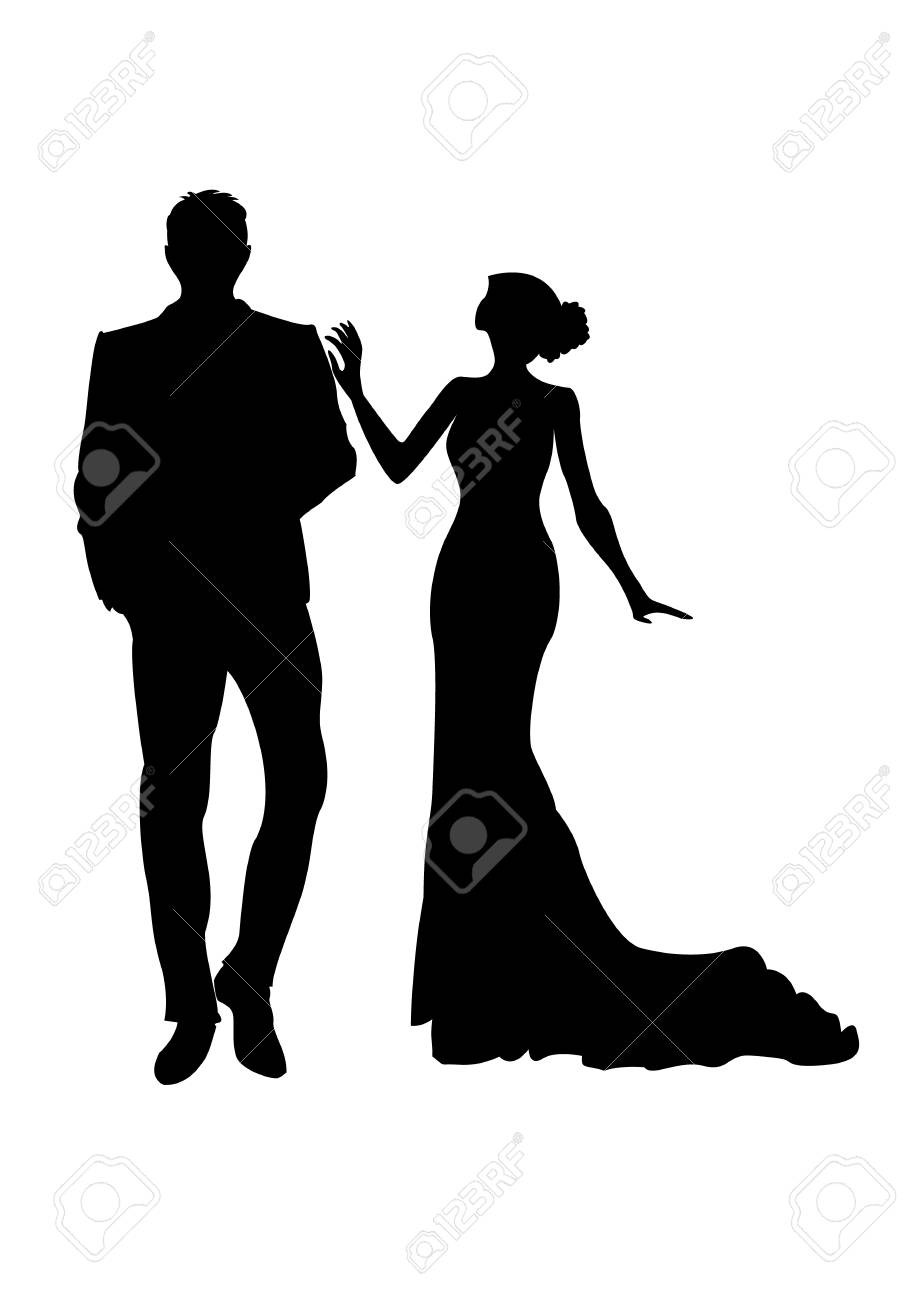918x1300 Silhouette Of A Elegant Couple Man And Woman In Fancy Clothes