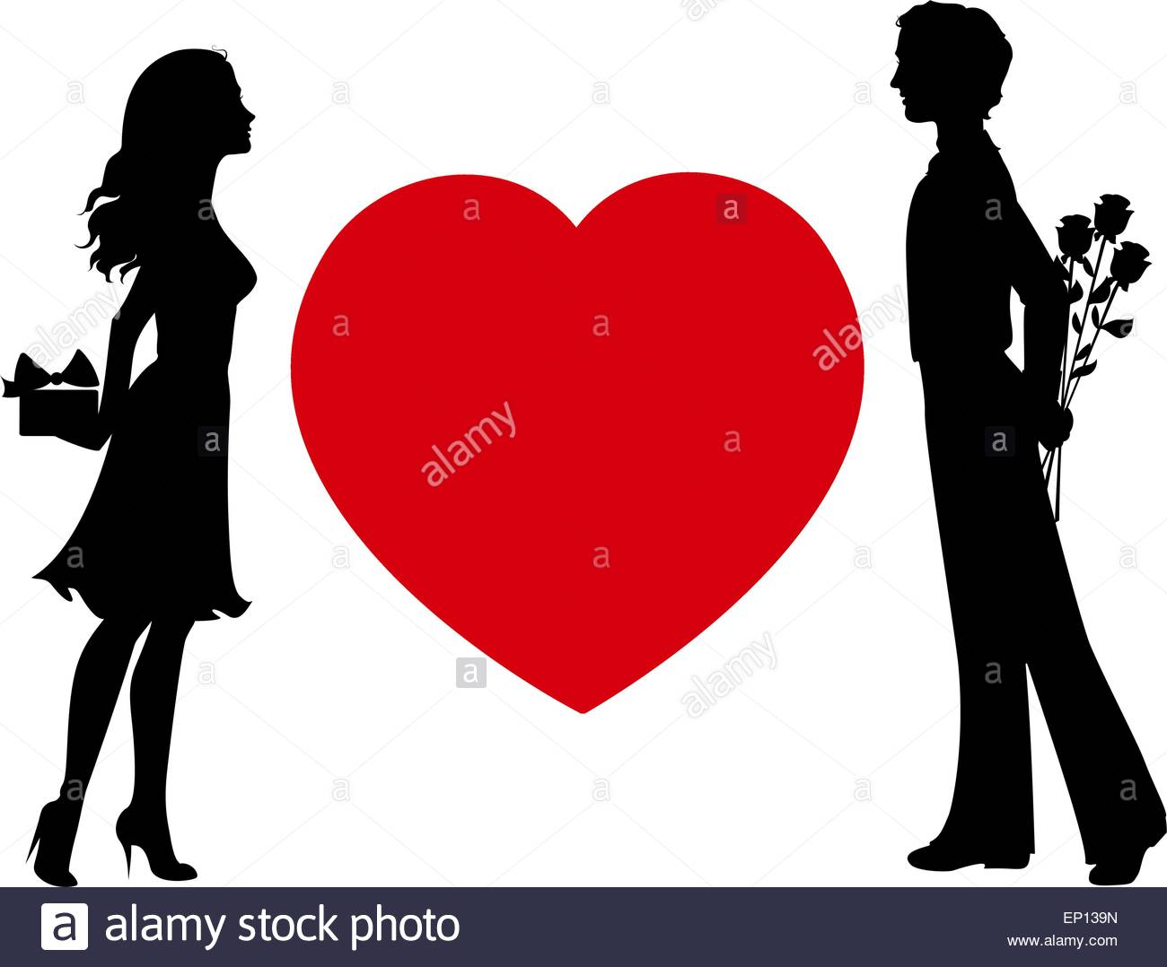 1300x1078 Silhouettes Of Man And Woman With Gifts Stock Vector Art