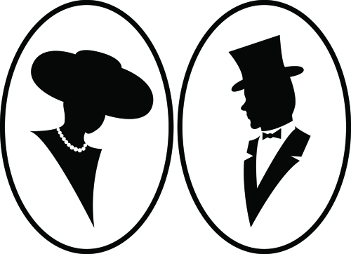 500x362 Creative Man And Woman Silhouettes Vector Set 01