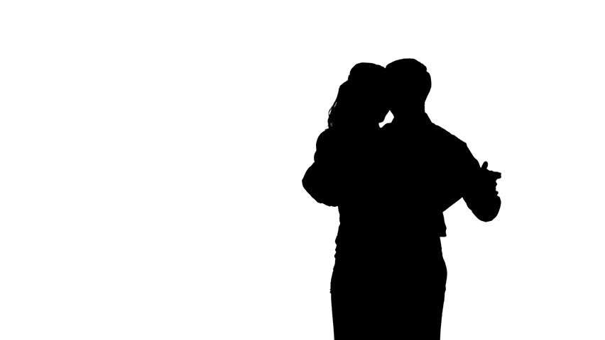 852x480 Isolated Silhouette Of A Couple Slow Dancing Stock Footage Video