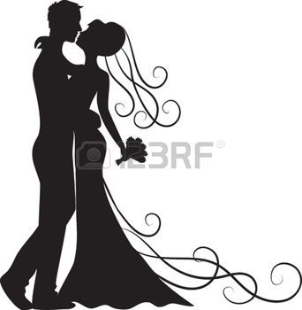 342x350 Bride Groom Black Silhouette Of Kissing Groom And Bride Wedding