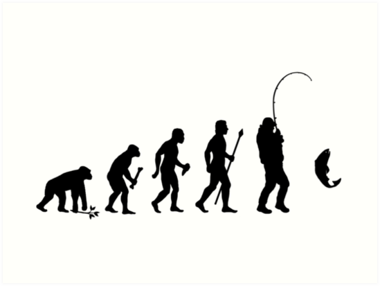 549x413 Evolution Of Man And Fishing Art Prints By Beyondevolved Redbubble