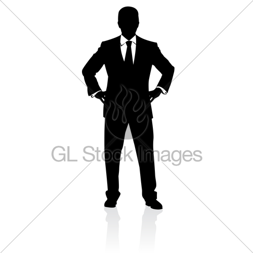 500x500 Business Man In Suit And Tie Silhouette Gl Stock Images
