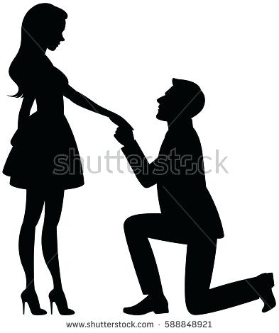 393x470 Guy Proposing Drawing Silhouette Of Mannd Woman In Love On