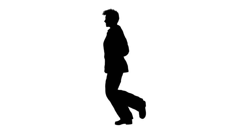 852x480 Silhouette Of Business Man Running Stock Footage Video 3005026