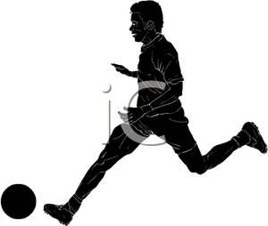 300x254 Silhouette Of A Man Running After A Soccer Ball