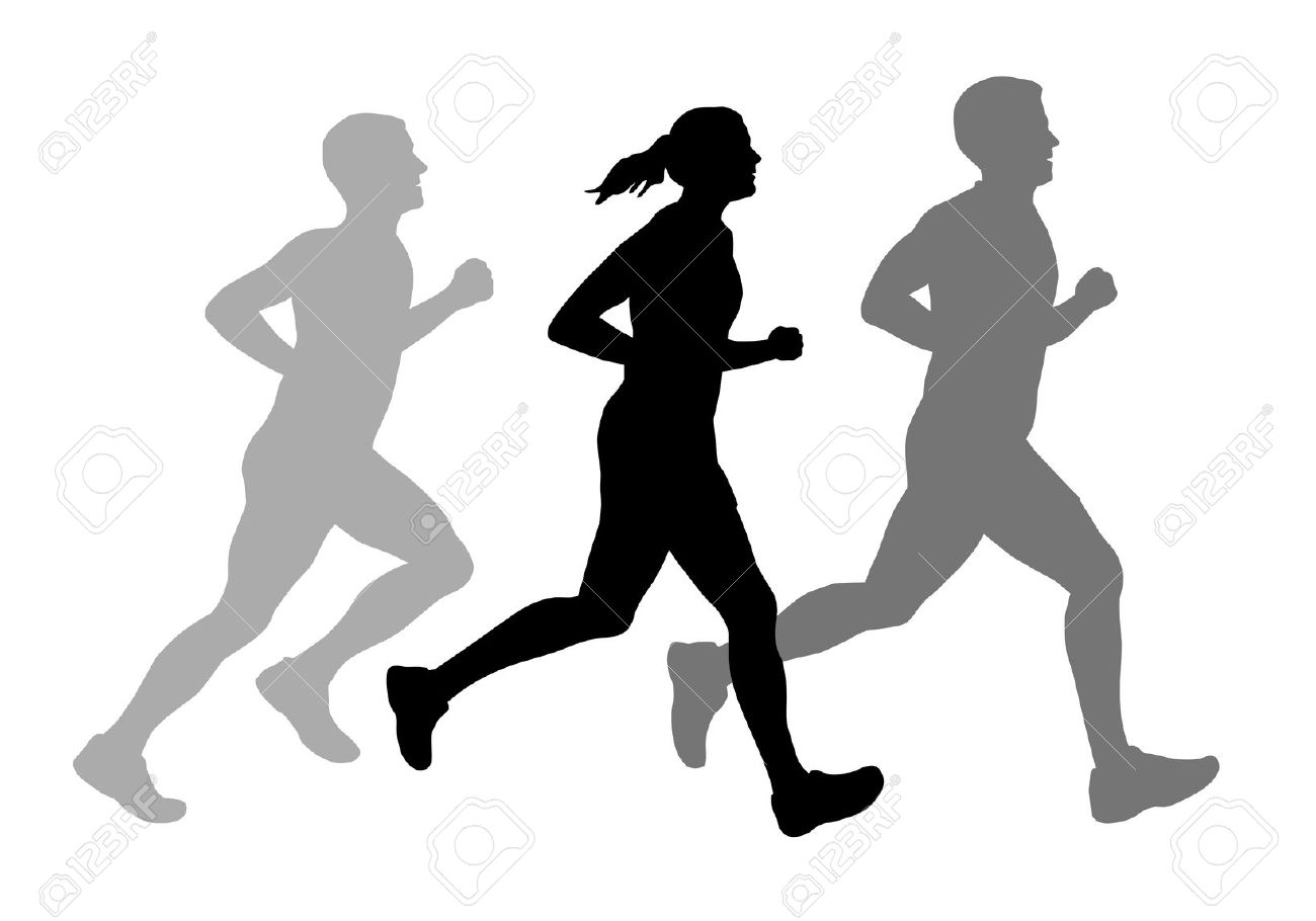 1300x910 Man And Women Running Clipart Silhoutette Collection