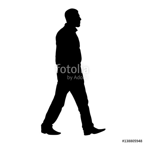 500x500 Adult Male Walking, Side View, Profile. Vector Silhouette Stock