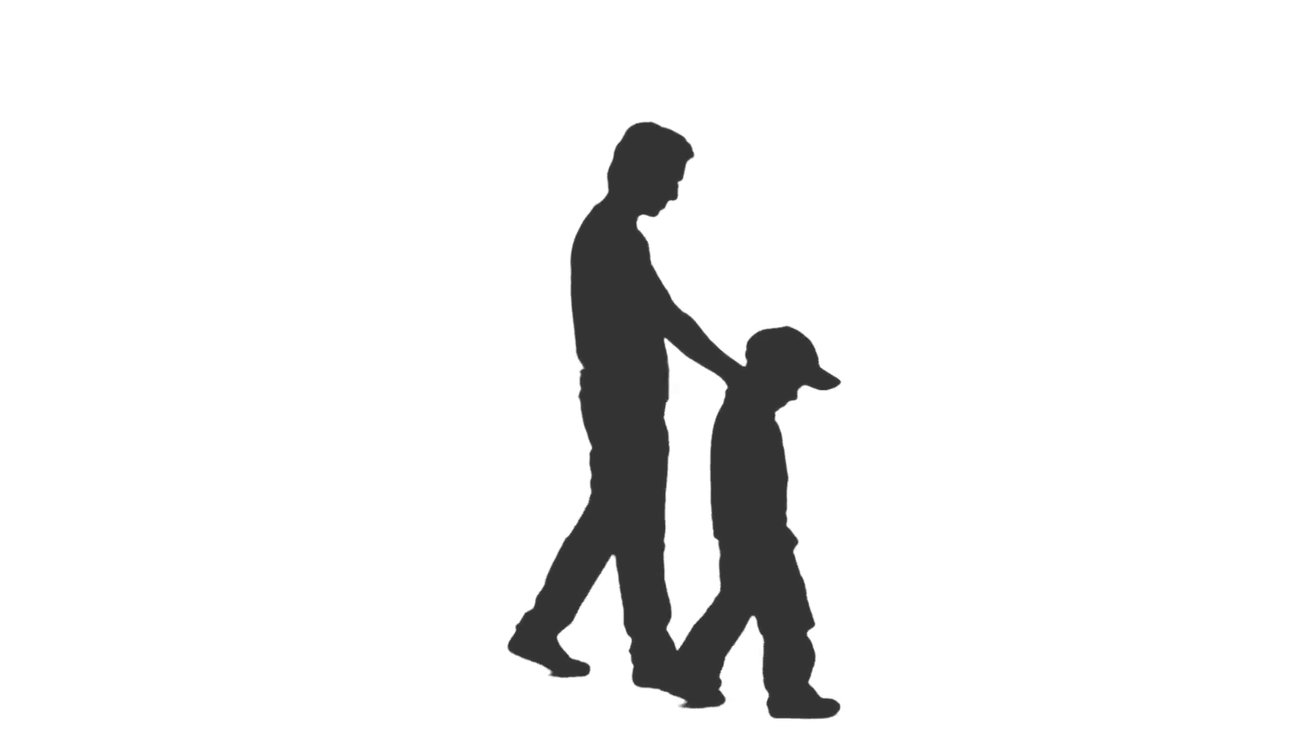 1920x1080 Silhouette Of A Man Walking With A Little Boy. Side View. Full Hd