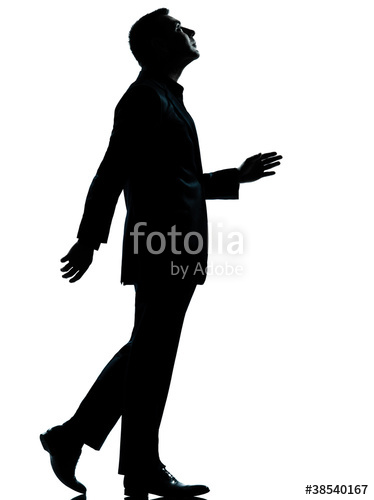 374x500 One Business Man Walking Looking Up Silhouette Stock Photo