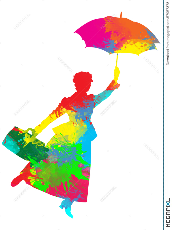 596x800 Mary Poppins Silhouette Illustration 57957378