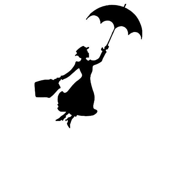 570x598 Mary Poppins Silhouette Iron On Glitter Heat Transfer Disney