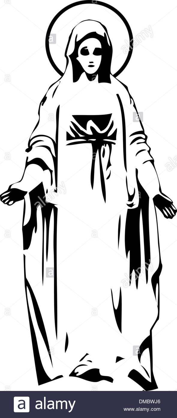 590x1390 The Vector Virgin Mary Statue Silhouette Stock Vector Art