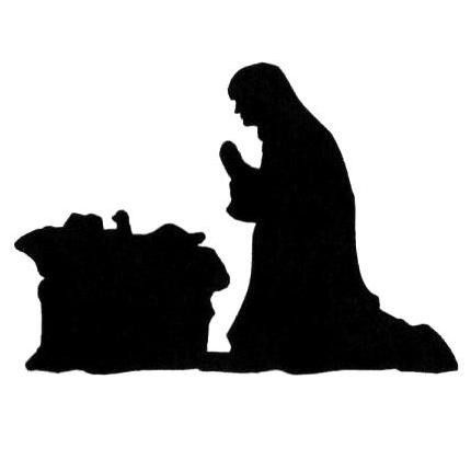430x430 Manger Scene Silhouette Unmounted Rubber Stamp, Mary And Jesus
