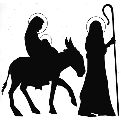 Silhouette Of Mary Joseph And Baby Jesus
