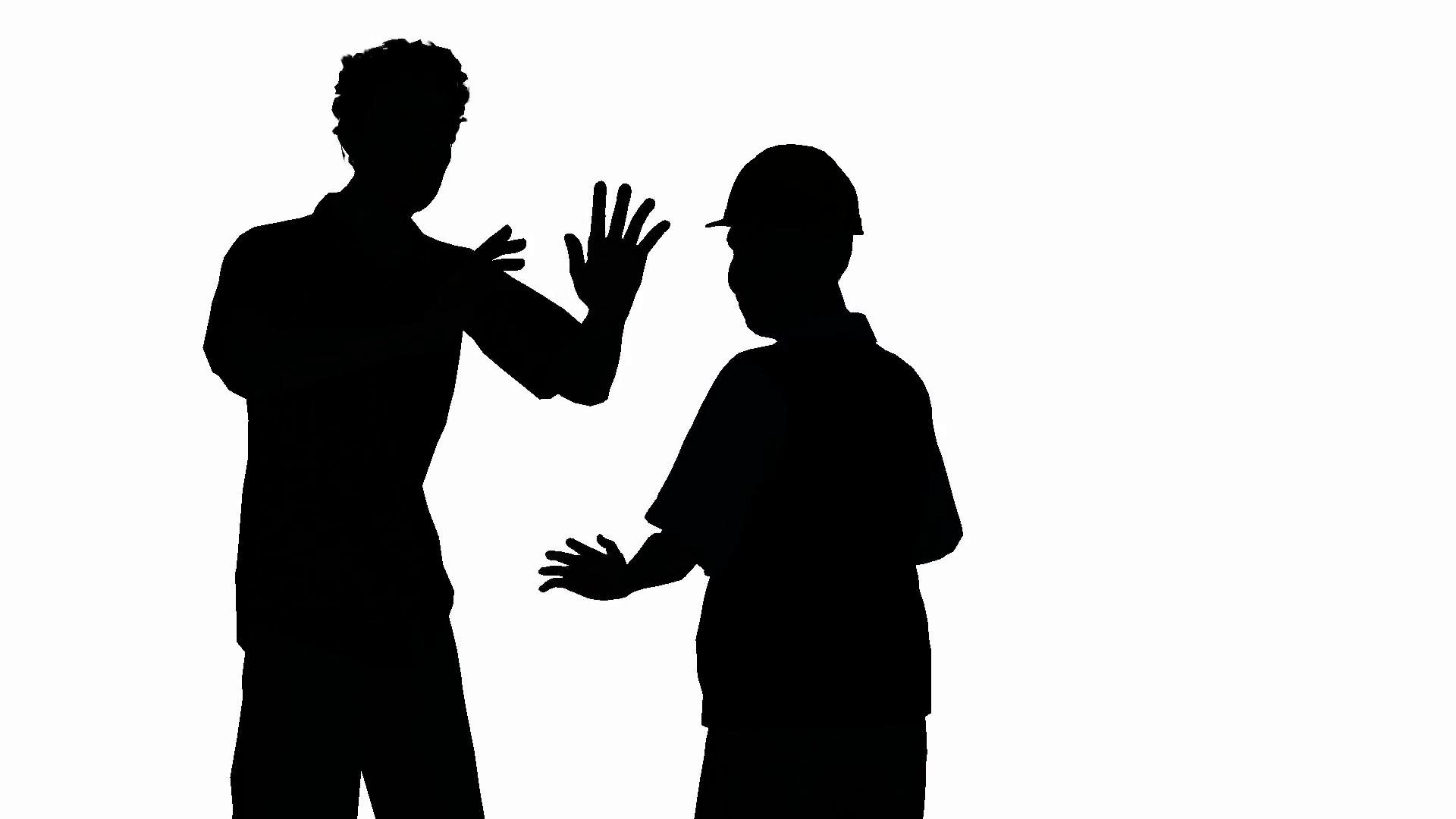 1920x1080 Two Men Arguing In Silhouette Medium Shot Motion Background