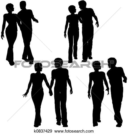 450x470 Silhouette Men Women Clipart