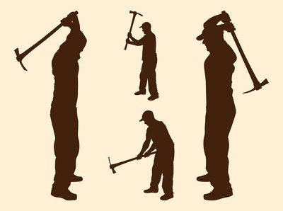 400x298 Labor Men Silhouettes With Pickaxes, Vector Image