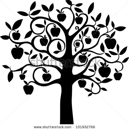 450x454 Apple Trees Clipart Black And White