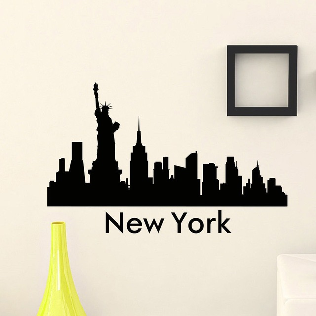 640x640 New York City Skyline The Wall Sticker Art Mural City Silhouette